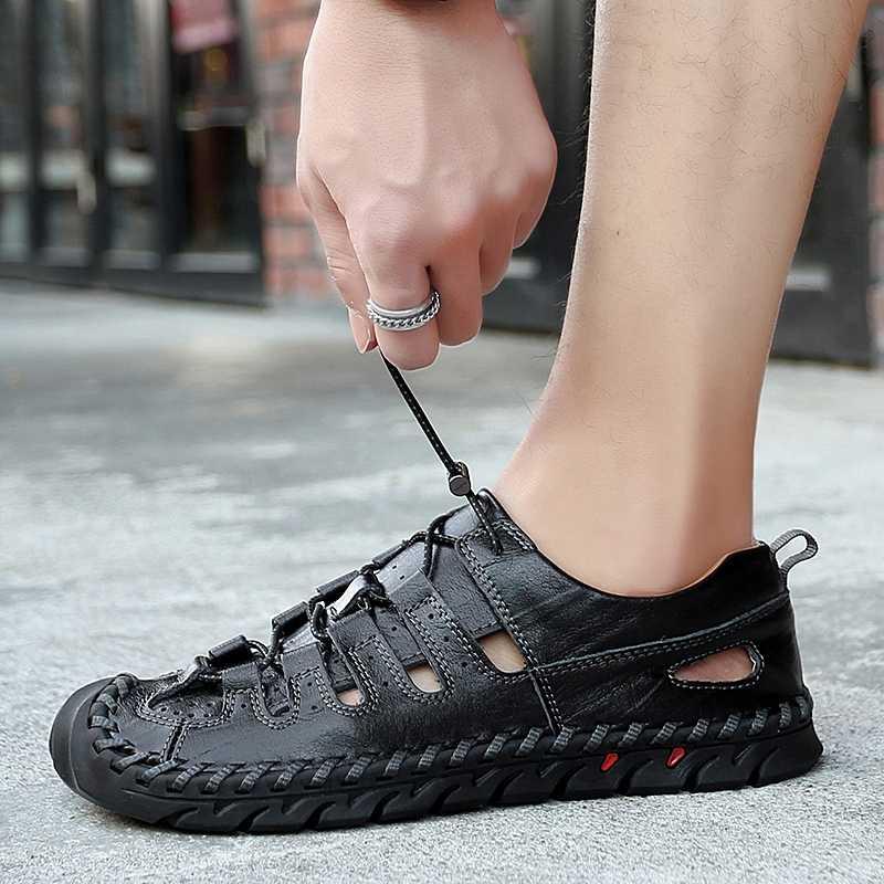Sandały męskie letnie sandały wyjściowe oryginalne skórzane ręcznie szyte półbuty męskie oddychające męskie skórzane buty Big size 48