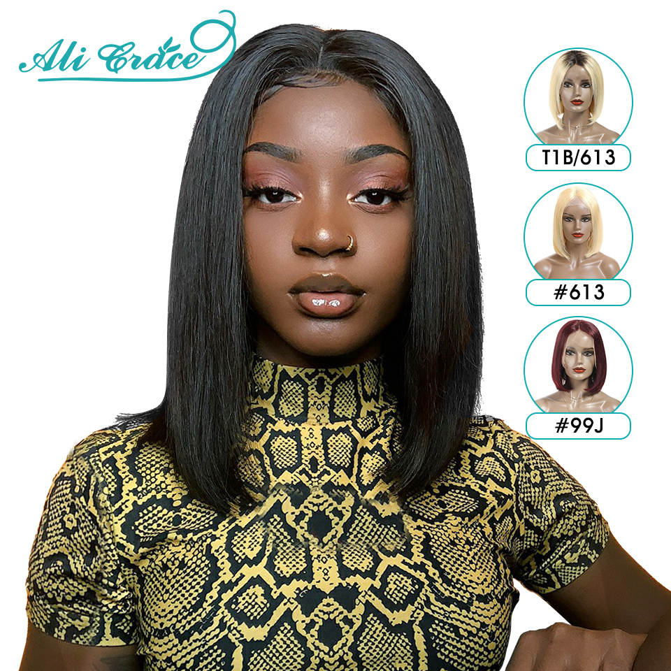 Ali Grace Bob Lace Front Wigs For Women 613 Blonde Human Hair Wig With Natural Hairline Brazilian Straight Lace Front Wigs