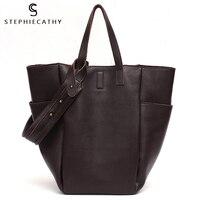 SC Brand Women Vintage Leather Shoulder Handbag Luxury Genuine Leather Bucket Ladies Fashion Tote Large Capacity Femal Crossbody