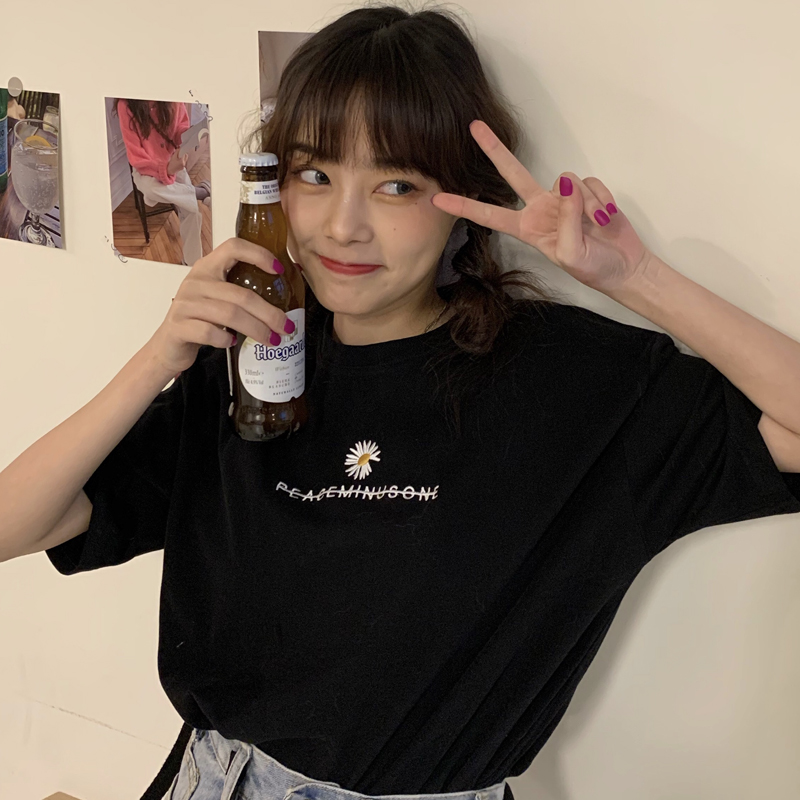 Tee Shirt Female Tops Summer Women Short Sleeve T-shirts Korean Clothes Ulzzang Harajuku Vintage Daisy Printed T-shirt Student