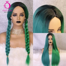OLEY New Offer Blue Green Non-Lace Wig 24 Inch Straight Glueless Middle Part Synthetic