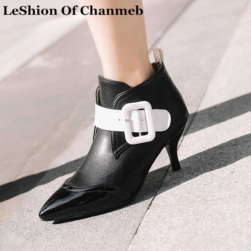 fashion big square buckled PU leather booties for ladies kitten heels pointed toe short boots women size 34-45 white fall shoes