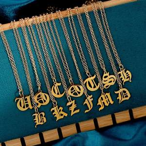 Flatfoosie Gold Color Stainless Steel 26 Letter Pendant Necklace for Women A-Z Initial Alphabet Long Chain Necklace Jewelry Gift