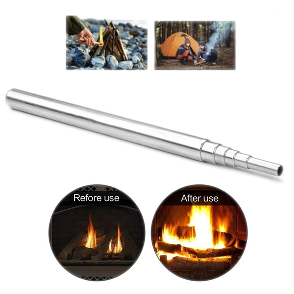 1 Pcs Blow Fire Tube Outdoor Camping Portable Emergency Blow Fire Tube Telescopic Pipe Survival Tool Stainless Steel