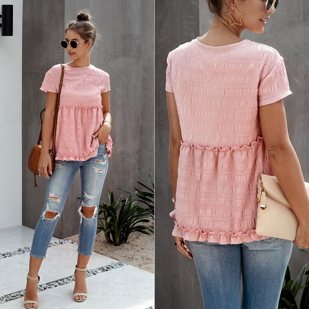Are You Sure Not To Click In And See? Women's Round Neck Ruffled Short Sleeve Casual Top Shirt Blouse Dropshipping  Wholesale