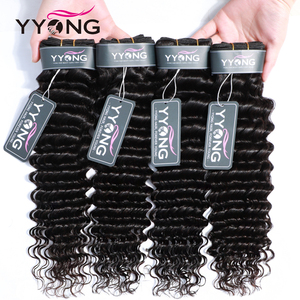 Yyong Hair 4 Bundle Deals Brazilian Deep Wave Hair Extensions 8-30 Inch Can Be Colored 100% Remy Human Hair Weave Natural Color