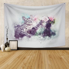 Wall Hanging Tapestry With cat  Boho Decor Large Size Animal Wall Tapestry  Wall Carpet  Dorm Decor for Bedroom Wall Home Decor