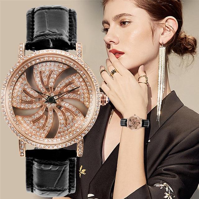 KCHKE New Creative Womens Watch Leather Strap Time Running Watch Women Romantic Simple Quartz Watch relogio feminino