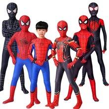 2021 aranha de ferro cosplay incrível spider-boy homem traje de halloween peter parker zentai terno superhero bodysuit para crianças adulto