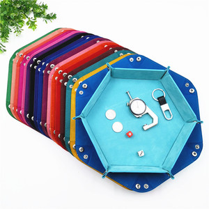 Dnd dice tray dados de rol storage 14 colors hex velvet cloth tweezers disc folding storage box pu tray desktop storage box(China)