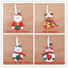 5pc Christmas Decorations for Home Cute Non-Woven Fabric Knife Fork Bag Xmas Party Dinner Deco Kitchen Accessorie