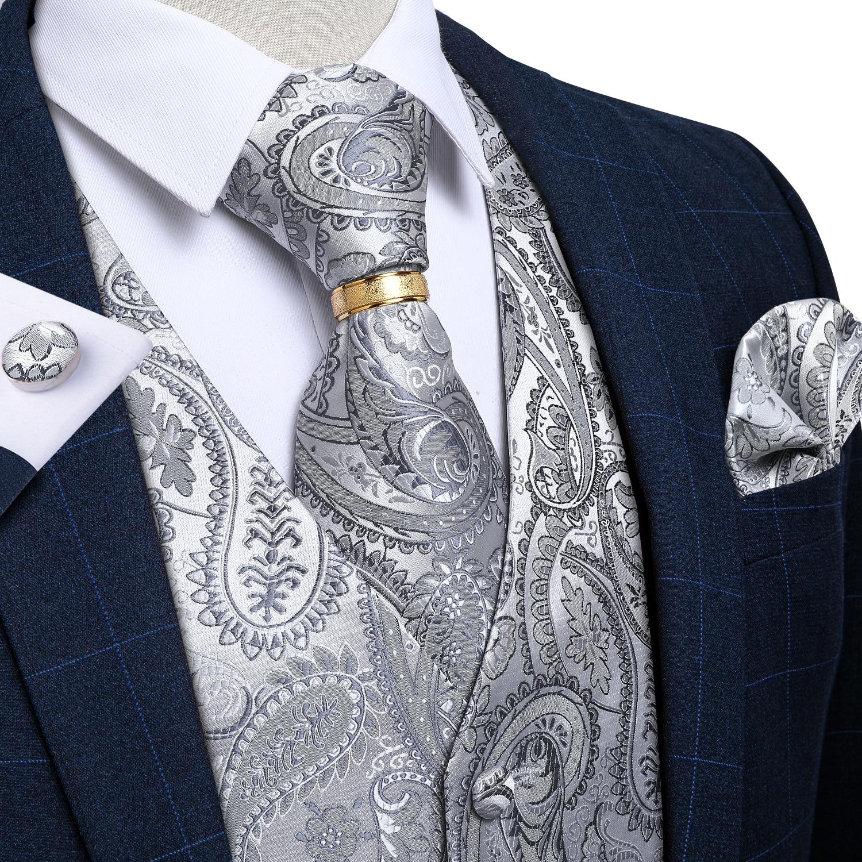 set di gemelli quadrati DiBanGu gilet da uomo per matrimonio formale paisley gilet e cravatta