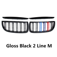 цена на Pair Gloss Matt Black Color 2 Line Front Kidney Grille Grill Double Slat For BMW E90 E91 3 Series 2005 2006 2007 Car Accessories