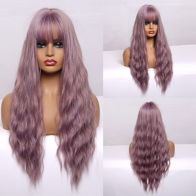 EASIHAIR Long Body Wavy Brown Ombre Synthetic Wigs Women Natural Wavy Hair Wig Cosplay Wigs with Bangs Heat Resistant Wigs