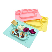 Baby Silicone Dishes Plate Training Placemat Bowl for Kids Suction Toddle Feeding Food Separated Eateing Set