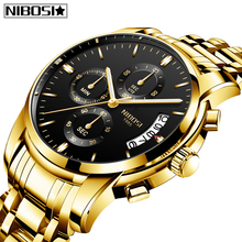 NIBOSI 2020 hommes montres haut tendance marque de luxe Sport militaire Quartz mâle horloge grand cadran affaires hommes montre Relogio Masculino