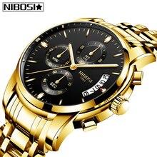 NIBOSI 2020 الرجال الساعات قمة الموضة العلامة التجارية الفاخرة الرياضة العسكرية الكوارتز الذكور على مدار الساعة الطلب الكبير رجال الأعمال ساعة Relogio Masculino