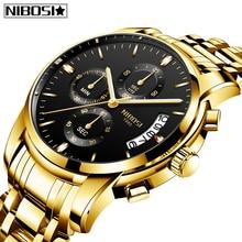 Nibosi 2020 homens relógios moda topo marca de luxo esporte militar quartzo masculino relógio grande dial negócios masculino relógio relogio masculino