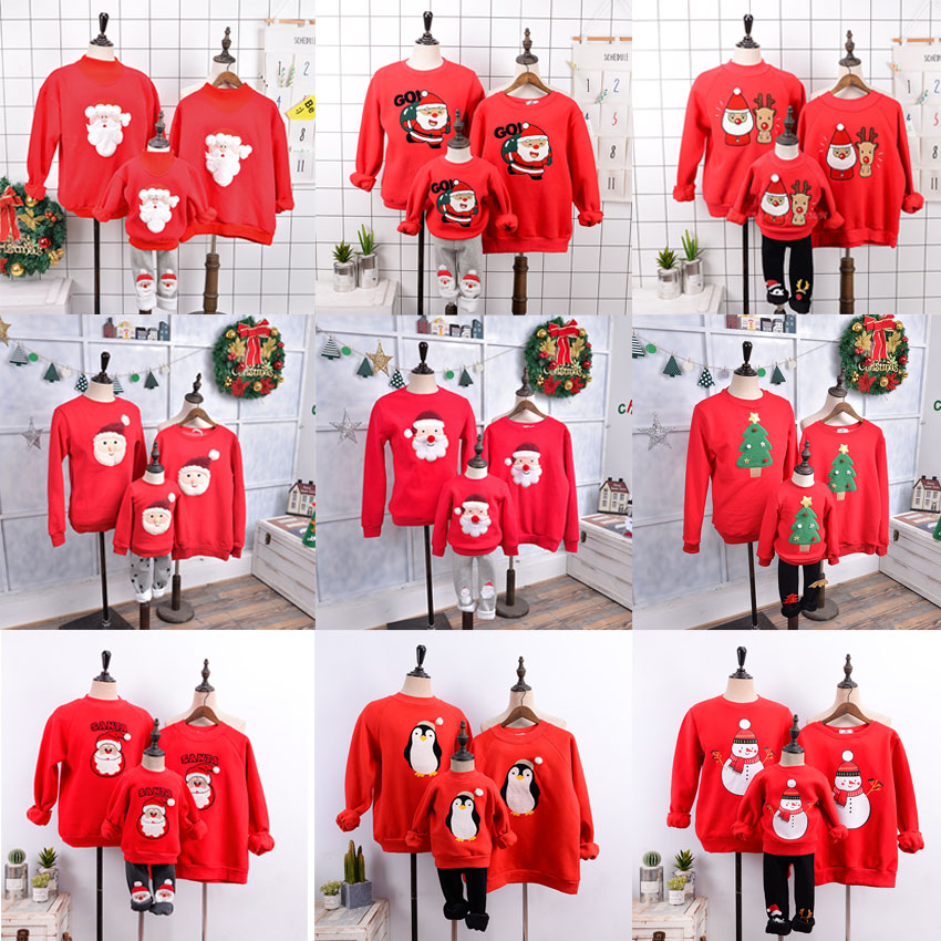 Ugly Shirt for Family Long Sleeve Round Neck Cute Deer Print Kids Mama Dad Matching Outfit
