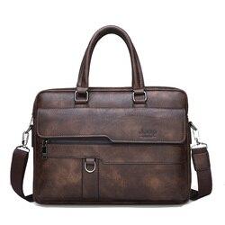 Vintage Men's Business Handbag Shoulder Bag Soft PU Leather Retro Laptop Shoulder Bag Large Capacity Male Handbag File Bag Bolsa