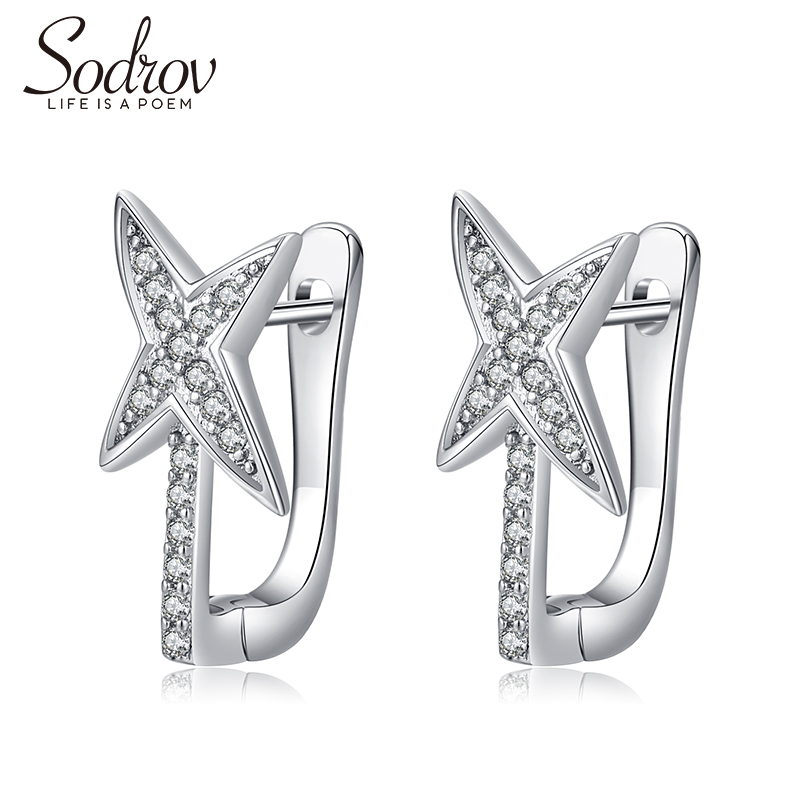 Sodrov Hoop Earrings Jewelry Brincos Silver 925 Sterling Women Fine Genuine Four-Pointed Star Classic High Quality Earings