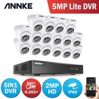 ANNKE 16CH 2MP HD Video Surveillance System H.265+ 5in1 5MP Lite DVR 16PCS 1080P Dome Outdoor Weatherproof CCTV Security Cameras
