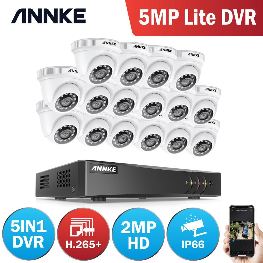 ANNKE 16CH 2MP HD sistema de vídeo de seguridad para el hogar H.265 + 5in1 5MP Lite DVR 16X 1080P Domo IR inteligente al aire libre impermeable CCTV cámaras Micro cámara de vídeo CCTV inalámbrica para el hogar, Mini vigilancia de seguridad con Wifi, cámara IP, cámara para teléfono, cámara ipcámara con Sensor de movimiento Wai Fi