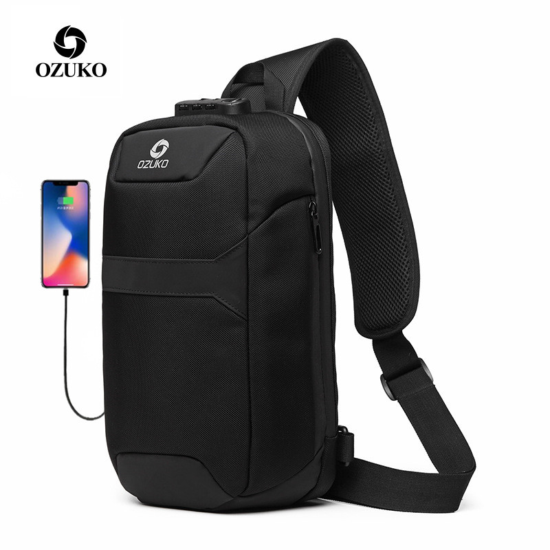 New OZUKO Bag Multifunction Crossbody Bag for Men Anti-theft Shoulder Messenger Bags Male Waterproof Short Trip Chest Bag Pack