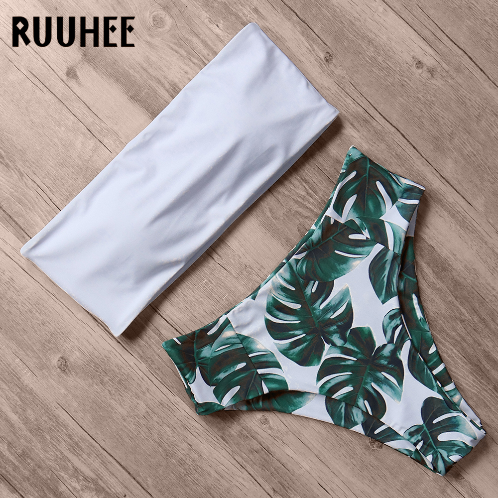 RUUHEE Bikini 2020 Swimwear Swimsuit Women Print High Waist Bikini Set Strapless Bandeau Bathing Suit Female Beach Wear Biquini