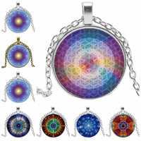 Rotante Geometria Sacra Mandala Fiore di Osso tazza di Vetro Convesso Rotondo Pendente di Fascino di Modo Delle Signore di Modo Della Collana Dei Monili Della Ragazza