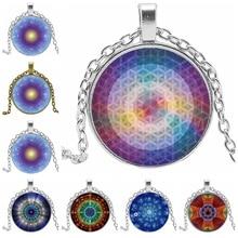 Rotating Sacred Geometry Mandala Flower Bone Glass Convex Round Pendant Fashion Charm Ladies Necklace Girl Jewelry
