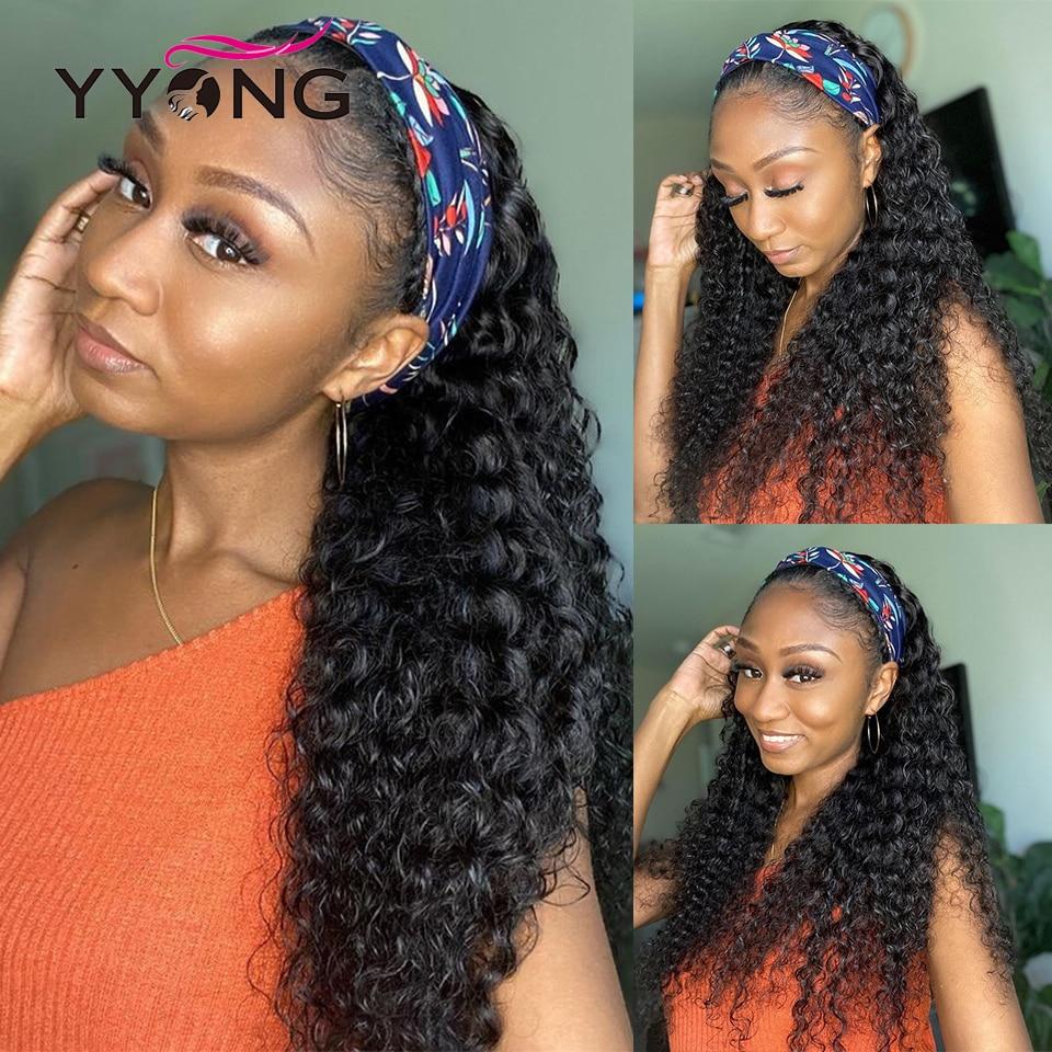 YYong 100%  Grip Headband Scarf Wig  Deep Wave  Wig No Plucking Wigs  No Glue 20-32 INCH 3