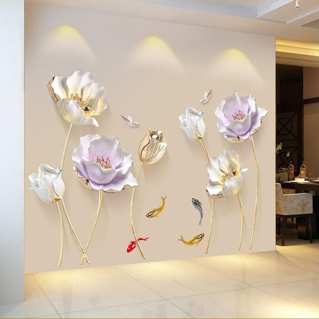 180*110 CM Tulip Wall Sticker 3D Butterfly Flower Stickers Removable Living Room Bedroom Bathroom Home Decor Decoration Posters