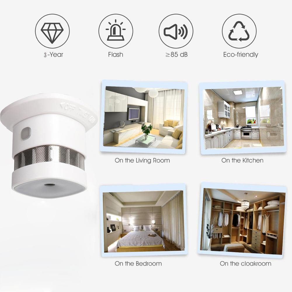 lowest price Zwave Smoke Sensor Smart Home EU Version 868 42mhz Z-wave Smoke Detector Power Battery Operated