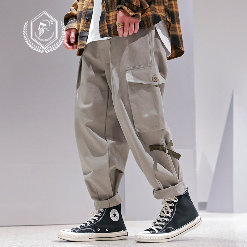 Men Loose Safari Style Pants Fashion Pockets Harem Jogger Cargo Pants Ankle-Length Hip Hop Pants