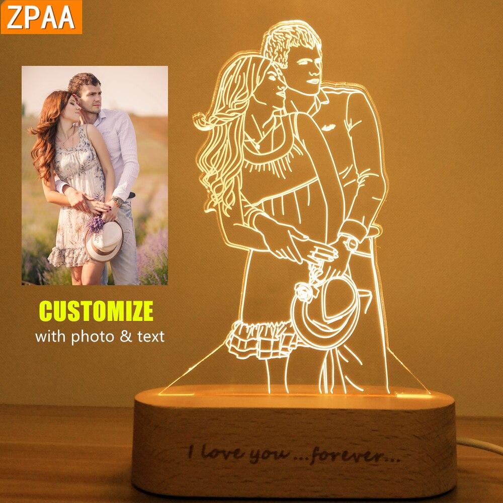 Foto personalizada 3D luz de noche USB DIY lámpara de noche luz de noche personalizada para boda regalo de Navidad Luz De vacaciones Base de madera|Luces de noche LED|   - AliExpress