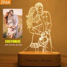 Foto personalizado 3d luz da noite usb diy noite lâmpada nightlight personalizado para o presente de natal do casamento luz do feriado base de madeira