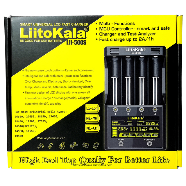 LiitoKala Lii 500S شاحن بطارية 18650 شاحن ل 18650 26650 21700 AA بطاريات AAA اختبار قدرة البطارية التحكم باللمس