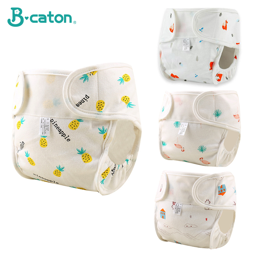 Baby Reusable Diapers Pants Baby Cloth Diapers Cartoon Training Pants 100%Cotton Adjustable Size Waterproof And Breathable Soft