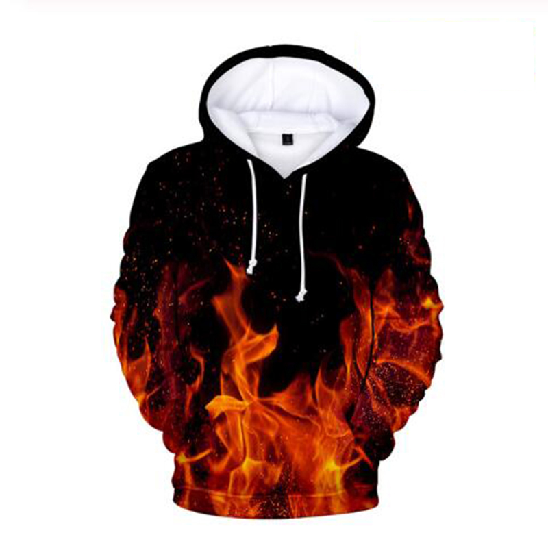 Fashion Hip Hop Flame 3d Hoodies Pullover Tracksuit Costume Men Women Hoodie Hoody Long Sleeve Harajuku 3D Hooded Sweatshirt Top