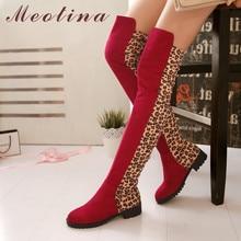 купить Meotina Winter Over The Knee Boots Women Leopard Flat Thigh High Boots Slim Stretch Round Toe Tall Shoes Lady Autumn Size 33-43 по цене 2036 рублей