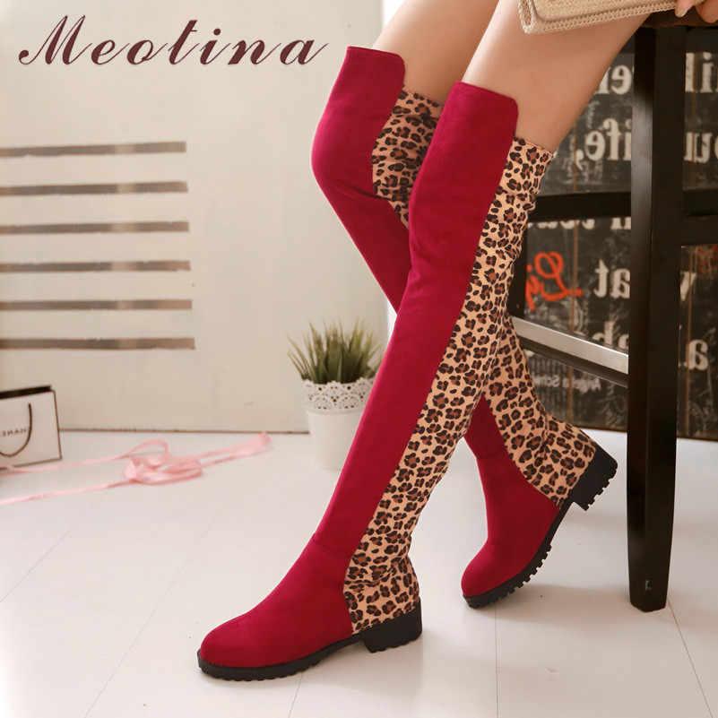 Meotina/Зимние Сапоги выше колена женские леопардовые высокие сапоги на плоской подошве узкие эластичные высокие ботинки с круглым носком женские осенние Размеры 33-43