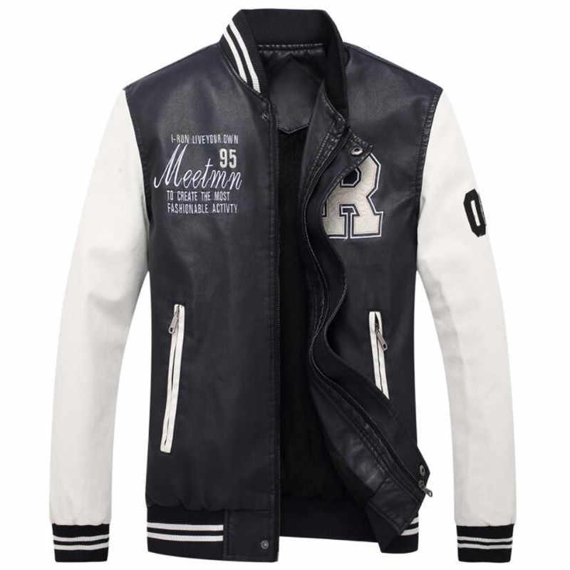 Мотоциклетная кожаная куртка для мужчин с вышивкой бейсбольные куртки из искусственной кожи повседневные приталенные куртки для колледжа Роскошные флисовые куртки