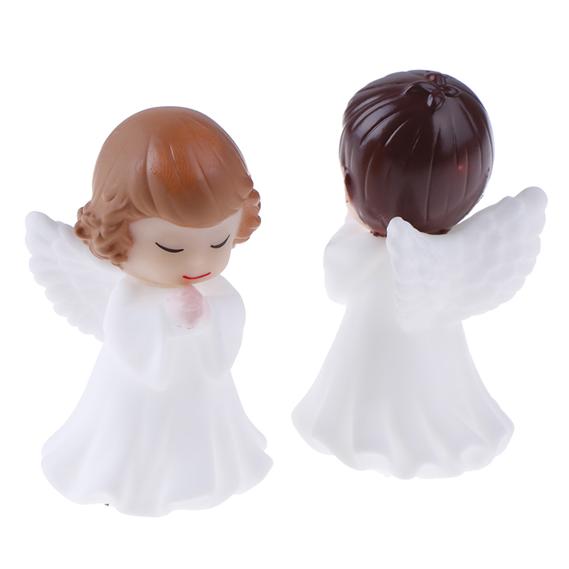 Hot! 2Pcs Angels Figurines Miniature Well Workmanship Odorless Sculpture Ornament Decoration For Desktop Car Garden Cake