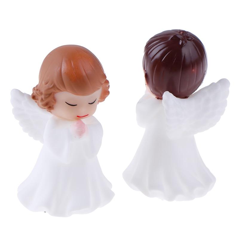 Hot! 2Pcs Angels Figurines Miniature Well Workmanship Odorless Sculpture Ornament Decoration For Desktop Car Garden Cake