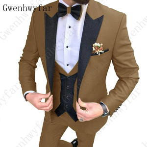 Image 1 - 2020 Latest coat pants designs Brown men suit Slim fit elegant tuxedos Wedding business party dress jacket+vest pants terno
