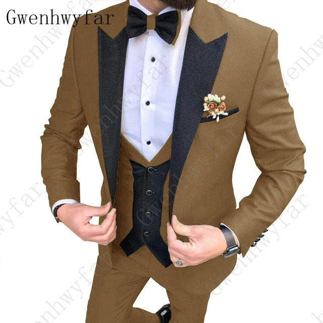 2020 Latest coat pants designs Brown men suit Slim fit elegant tuxedos Wedding business party dress jacket+vest pants terno