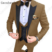 2020 últimos diseños de pantalones de abrigo marrón traje de hombre de ajuste Delgado tuxedos elegantes boda de negocios fiesta vestido chaqueta + chaleco pantalones terno