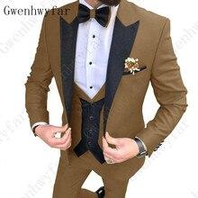 2020 новейший дизайн пальто брюки Коричневый Мужской Костюм приталенный элегантный смокинг Свадебная деловая Вечеринка платье пиджак + жилет брюки terno