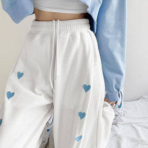 Модные прямые брюки с высокой талией, Женские однотонные повседневные корейские брюки, свободные эластичные брюки с талией, Джоггеры в Коре...